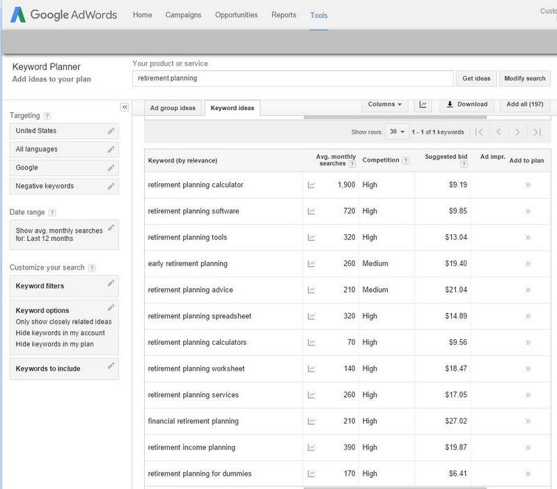 keyword research google planner